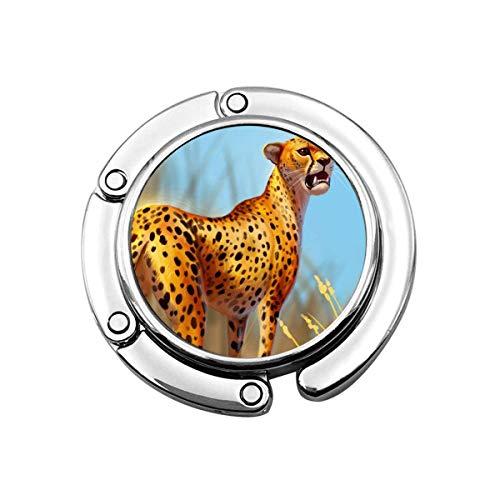 Animal Salvaje Leopardo en el Prado Águila Calva Gancho para Monedero Plegable Perchas para Bolsos Decoración Gancho para Mesa
