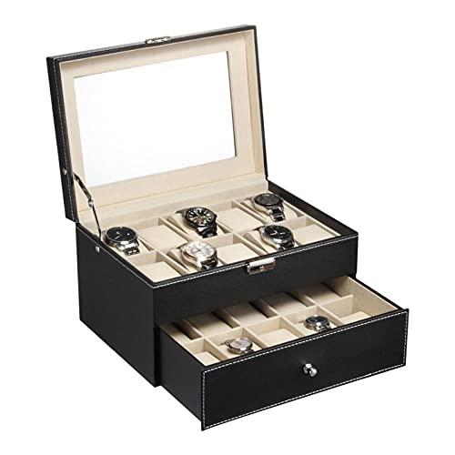 6/10/12/20/24 Slots Cuero de alta calidad para hombres Colección de relojes Caja de almacenamiento Vitrina Organizador de relojes -US stock-24.Slots, Estados Unidos