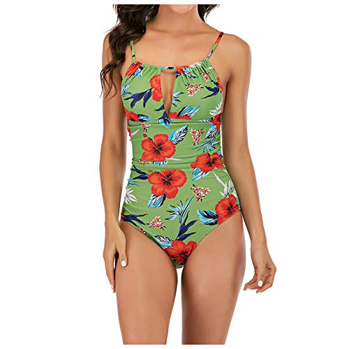 Dwaloeno Womens Swimsuit,One Piece Swimsuits for Women Tummy Control Monokini Swimwear Floral Printed Ruched Bathing Suits