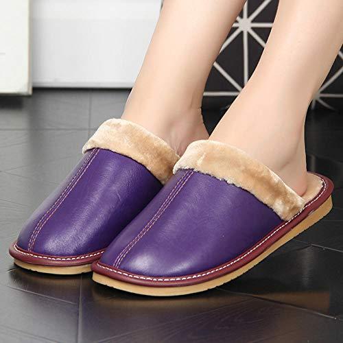 Nwarmsouth Zapatillas de Zapatos Easy Close para Hombre,Inicio Zapatos de Suela Gruesa de algodón, Pantuflas Antideslizantes de Lana cálida-Violeta_33-34,Zapatillas de Invierno para Hombres y Mujeres
