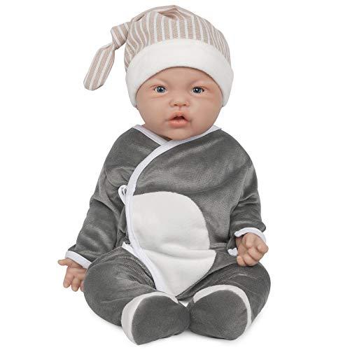 Vollence Poupées de 43 cm en Silicone, poupées ne Contenant Pas de Vinyle, poupées réalistes de Naissance, poupées réalistes, poupées de Nouveau-né, poupées réalistes - Garçon