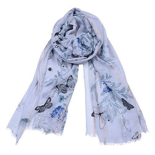 Dhmm123 Bufandas cálidas Estampado de Mariposa de Las Mujeres Prospiciente Bufandas Bufanda cálida Suave Mantón del Abrigo de la Borla Farseeing Estola (Color : Blue)