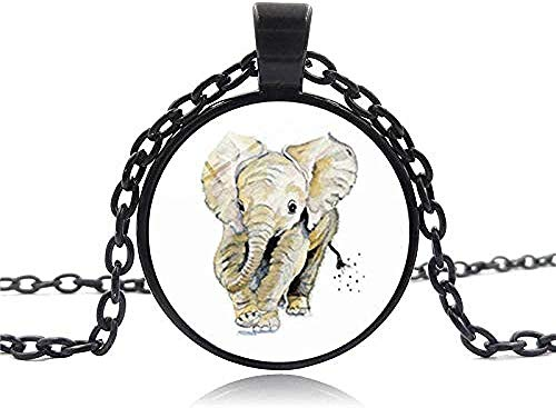 YZXYZH Collar Bebé Elefante Foto Cabujón Colgante De Cristal Collar De Cadena De Plata Tibetana Joyería De Mujer GIF