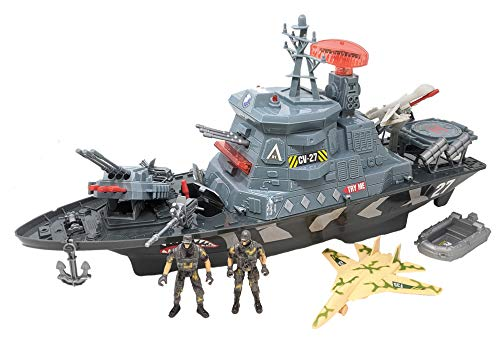 Toy Essentials 22 Inch Military Battleship Aircraft Carrier Spy Drone Large Jet Lights and Sound