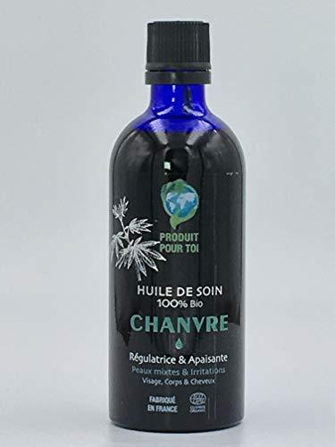 Huile Chanvre Bio - Démaquillant - Peaux mixtes & Irritations - Visage, Corps & Cheveux - 100 % Bio - pression à froid - 100 ml - flacon verre - compte-goutte - Fabriqué en France