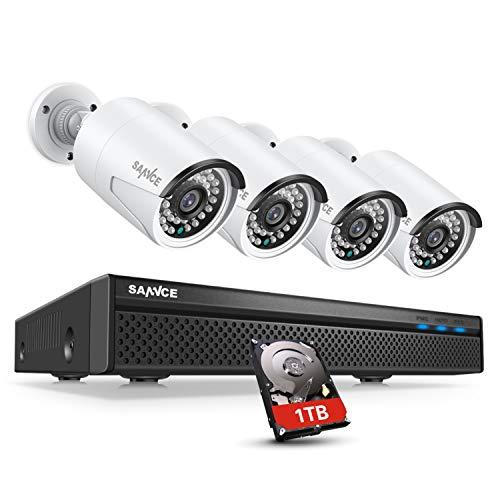 SANNCE POE - Videocamera di sorveglianza, 5 MP, 8 canali, NVR + 4 x 1080P, impermeabile, con hard disk da 1 TB, Smart IR LED, rilevazione di movimento, allarme APP, visione notturna fino a 30 metri