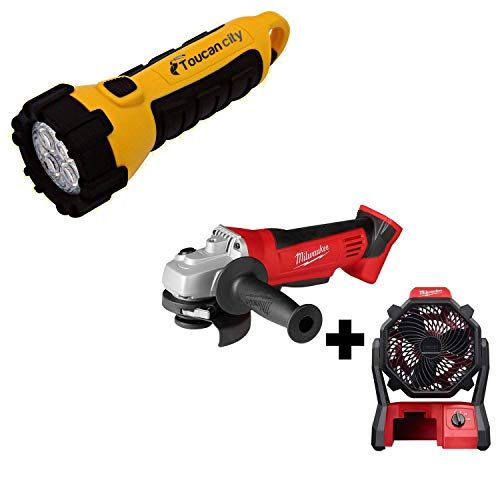 Toucan City LED Flashlight and Milwaukee M18 18-Volt Lithium-Ion Cordless 4-1/2 in. Cut-Off/Grinder with M18 Jobsite Fan 2680-20-0886-20