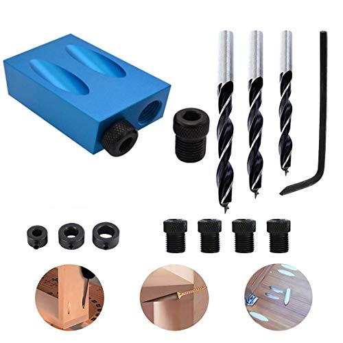 Doppel Pocket Loch Jig Kit, 6/8/10mm 15 ° Bit Winkelantriebsadapter für Holzbearbeitung Winkel Bohren Löcher Guide Taschenloch-Bohrvorrichtung Werkzeuge für Holzbearbeitung