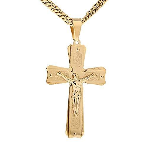 Tono Dorado 7 mm de Ancho para Hombre crucifijo Cruz Colgante Collar Cadena de eslabones de Acero Inoxidable 23.6 Pulgadas
