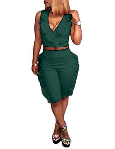Solid 2 Piece Jumpsuit Romper Sexy V Neck Sleeveless Crop Tops and Shorts Set Clubwear Green S