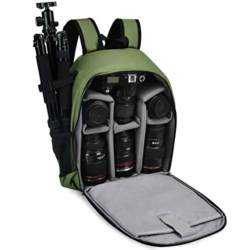 Kamerarucksack, CADeN Fototrucksack Camera Backpack Wasserdicht Kameratasche Kompatibel mit Sony Canon Nikon und 1 DSLR/SLR 5 Objektiv Stativ Zubehör (Grün)