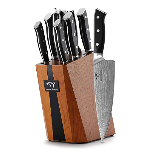 Professional Knife Damascus Knife Block Wood Set of 9 Damascus Knives Kitchen Knife Chef's Knife Set Stainless Steel, Knife Block with Sharp Knives