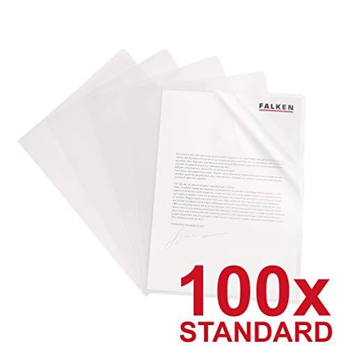 Original Falken 100er Pack Standard PP-Kunststoff Aktenhüllen. Für DIN A5 transparent genarbt farblos oben und seitlich offen Plastikhülle Klarsichthülle für Büro und die mobile Organisation