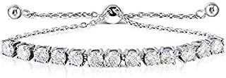 Platinum Plated Silver 3ct 4mm H-I-J Color Heart Arrow Cut Moissanite Adjustable Tennis Bracelets for Women