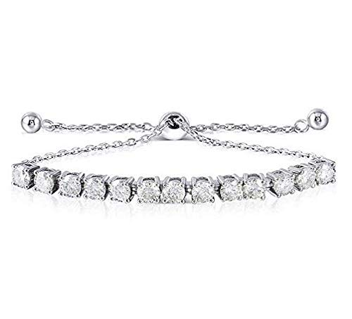 Platinum Plated Silver 3ct 4mm H-I-J Color Heart Arrow Cut Moissanite Adjustable Tennis Bracelets for Women