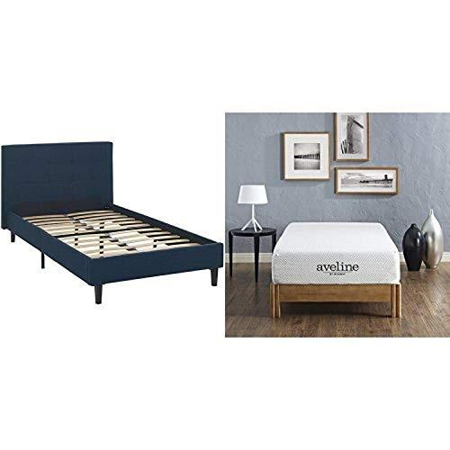 """Modway Linnea Twin Bed in Azure with Modway Aveline 10"""" Gel Infused Memory Foam Twin Mattress With CertiPUR-US Certified Foam"""