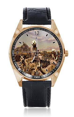 Choeter Ruili Wild Lion Deer Custom Personalisierte Herren Damen Armbanduhr Wasserdicht Edelstahl Quarz Armbanduhr mit austauschbarem Lederband