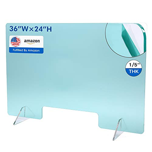 Plexiglass Shield for Desk, Sneeze Guard Screen Protective Panel for Desk Table Countertop, Portable Divider Barrier for Classroom Counter Office Store with Transaction Window (24'H x 36'W)