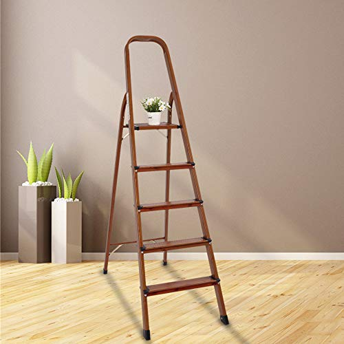 LUISLADDERS 5 Step Ladder Folding Aluminum Lightweight Ladder Woodgrain Step Ladder Anti-Slip Sturdy and Wide Pedal Ladders for Home and Kitchen 330lbs