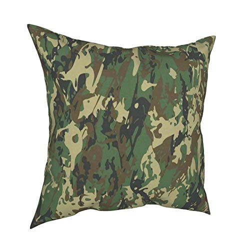 16x16 Pillow Covers Set Of 4 Military Camouflage Vintage Camo Throw Pillow Covers Decorative Couch Sofa Pillow Cases Shams Standard Zippered Square Pillowcase Cushion Covers Large For Bedroom