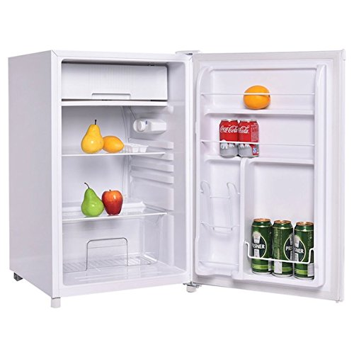 White 4.4 Cubic Feet Compact Mini Refrigerator Cabinet Single Reversible Door With Internal Freezer Ideal For Use In Dorm Office Or Your Mini Bar Adjustable Temperature Adjustable Leveling Legs