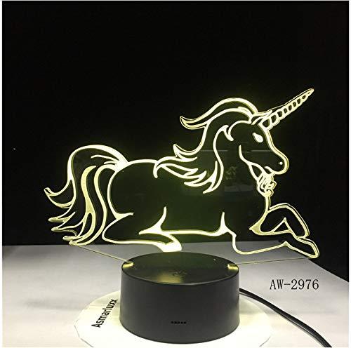 Tumbado Unicornio Regalo romántico Lámpara de mesa LED 3D 7 Cambio de color Luz nocturna Decoración de la habitación Vacaciones Novia Juguetes para niños Sin controlador7 colores