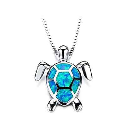 Beiswe Cute Turtle Pendant Necklace Lovely Animals White Fire Opal 925 Sterling Silver Necklace Jewellery Gifts (Blue)
