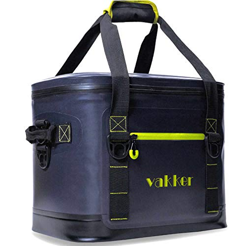 VAKKER Insulated Cooler Bag, 24Can 3 Days Ice Life Waterproof Leakproof Cooler Bag, Dustproof Portable Cooler Bag for Beach, Camping, Hiking, Outdoor, Travel, Picnic (Navy Blue)