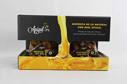 Estuche de miel regalo (Miel Nueces 300g + Avellanas 300g) con cucharilla