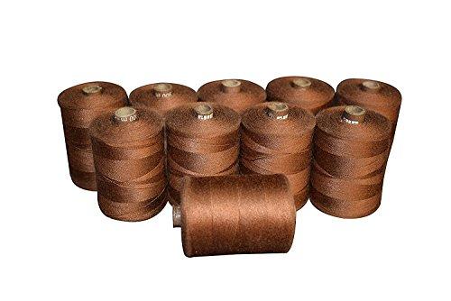 Winmaarc Polyester Filetage Définit – 823 m bobines de fils de connexion Lot de 10, Polyester, marron, 900 M