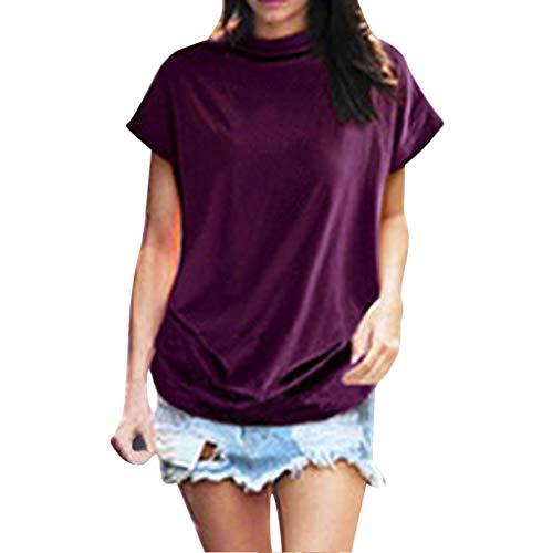 iHENGH Women Turtleneck Short Sleeve Cotton Solid Casual Blouse Top T Shirt Plus Size(Lila, XL)