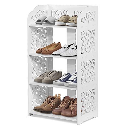 Ejoyous 4 Tiers Shoes Rack, White Wood Plastic Modern Durable Space Saving Display Shoe Storage Organizer, Free Standing Shoes Tower Shelves Holder Closets Stand, Support Hold 8 Pairs