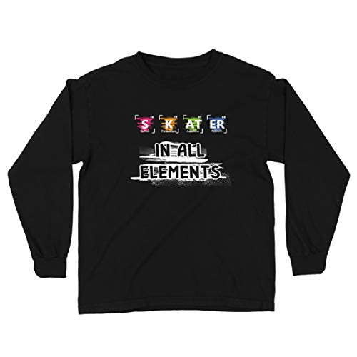 lepni.me Camiseta para Niño/Niña Patinador en Todos los Elementos Química Periódica de Mesa Deporte (7-8 Years Negro Multicolor)