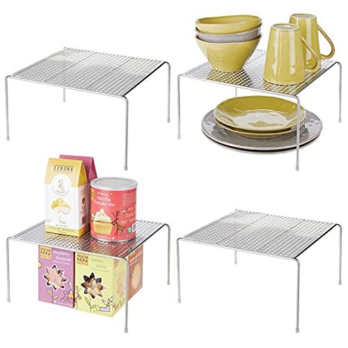 mDesign Estantes de cocina – Soportes para platos autónomos de metal – Organizadores de armarios para tazas, platos, alimentos, etc. – Juego de 4 – plateado