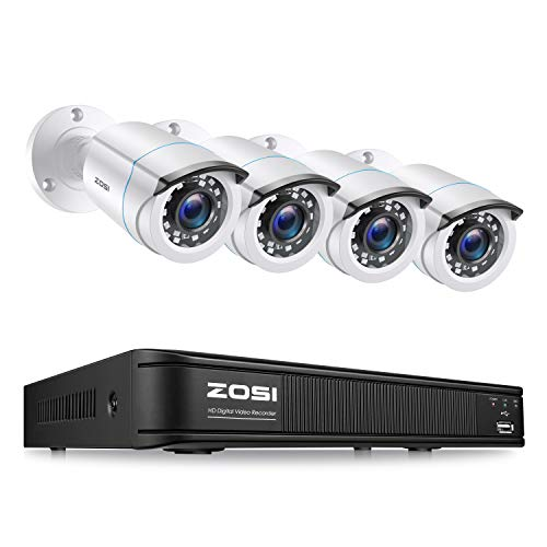 ZOSI H.265+ Full 1080p Home Security Camera System,5MP Lite CCTV DVR Recorder 4 Channel and 4 x 2MP 1080P Weatherproof Surveillance Bullet Camera Outdoor Indoor with 80ft Night Vision (No Hard Drive)
