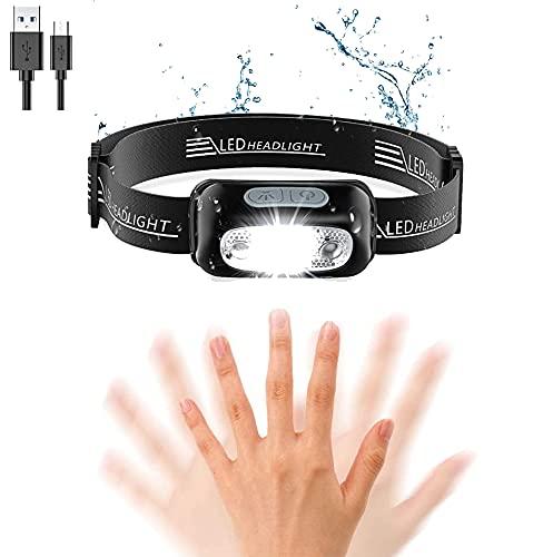 Linterna Frontal LED Recargable USB, Luz Frontal Accesorio Impermeable, Alta Potencia Luz, Mini Linterna de Cabeza para Camping, Pesca, Correr, Running, Bicicleta, Casco para Niños y Adultos (Negro)