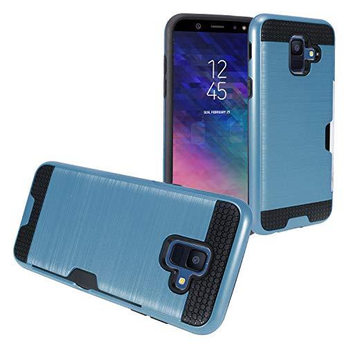 Eaglecell Schutzhülle für Samsung Galaxy A6 (2018) SM-A600, gebürstet, mit Kartenschlitz, Bildschirmschutzfolie aus gehärtetem Glas, CS2 Black/Navy Blue