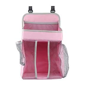 TOPBATHY Hanging Diaper Organizer Baby Hanging Diaper Stacker Nursery Caddy Bag for Baby Nursery Crib Storage (Pink)