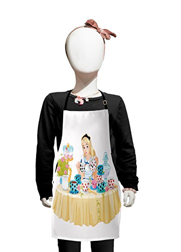 Lunarable Alice in Wonderland Apron Girl Pours Cup of Tea Cupcakes Flowers in Fantasy Land Trippy Small Apron Bib with Adjustable Ties for Baking Painting Small Size Pastel Beige