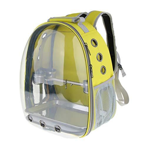 B Blesiya Transparenter Rucksack mit Edelstahl Näpfe und Sitzstange für Vögel/Papageien - Gelb
