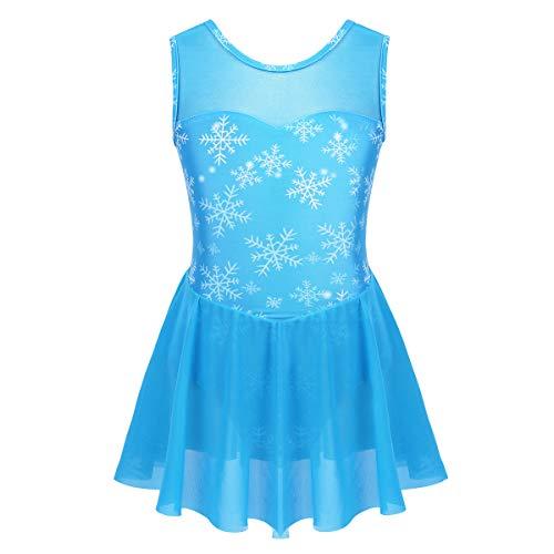 Agoky Vestido de Danza Ballet para Niña Maillot de Patinaje Artístico Gimnasia Rítmica con Falda Traje Patinadora Bailarina Disfraz Princesa Nieve Azul 5-6 Años