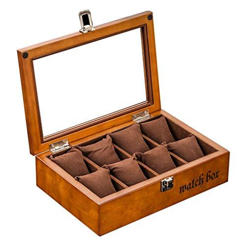 Ayanx 8 Caja de reloj de rejilla con Vitrina de Cristal Superior Caja de almacenamiento Organizadores Bandeja de pulsera Cajas con cierre de Metal 8 Almohadas extraíbles