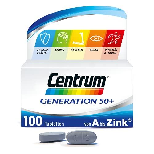 Centrum Generation 50+ – Hochwertiges Nahrungsergänzungsmittel mit Mikronährstoffen – Für Erwachsene ab 50 Jahren – Vitamine, Mineralstoffe, Spurenelemente – 1 x 100 Tabletten