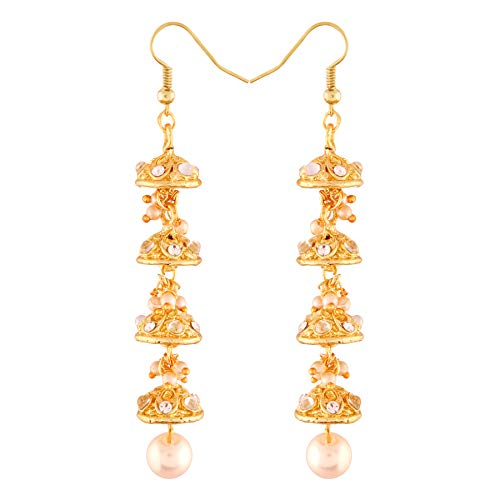 I Jewels Pendientes tradicionales chapados en oro con piedras y perlas para mujer (E2747W)