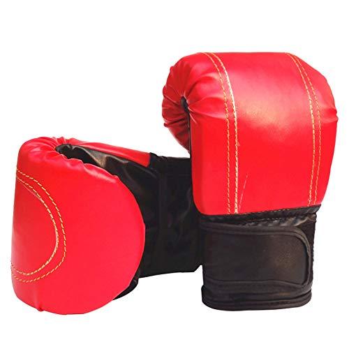 Geshiglobal - Guantes de lucha de Sanda, de piel sintética, para artes marciales mixtas, boxeo, Muay Thai, bolsa de arena para combate y entrenamiento, rojo