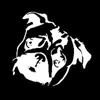 カーステッカー 15 * 14.1CMかわいいパグ犬ウィンドウの装飾ビニールステッカークリエイティブ動物の漫画車のステッカーブラック/シルバー カーステッカー (Color Name : Silver)