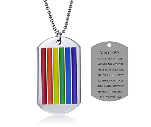 LF Stainless Steel to My Love Gay Pride Necklace,Sentiment Motivational Rainbow Flag Dog Tag Pendant Necklace Gay Lesbian LGBT Promise Jewelry for Idaho Wedding Engagement Anniversary