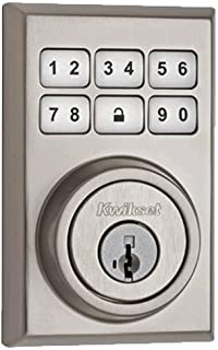 Kwikset 910 Z-Wave Contemporary SmartCode Electronic Touchpad Deadbolt, featuring SmartKey in Satin Nickel, Works with Alexa via SmartThings or Wink