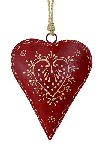 Deko Anhänger Herz Herzchen 15 cm, Metall handbemalt rot weiß Zum Hängen, Metallherz Fensterschmuck Türschmuck Herzanhänger