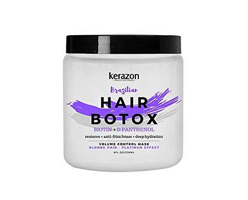 Kerazon Brazilian Hair Botox Treatment Purple Mask For Blonde, Platinum & Silver Hair Providing Smoothing, Deep Hydration, Anti-Brass, Shine, Softness, Volume And Frizz Control